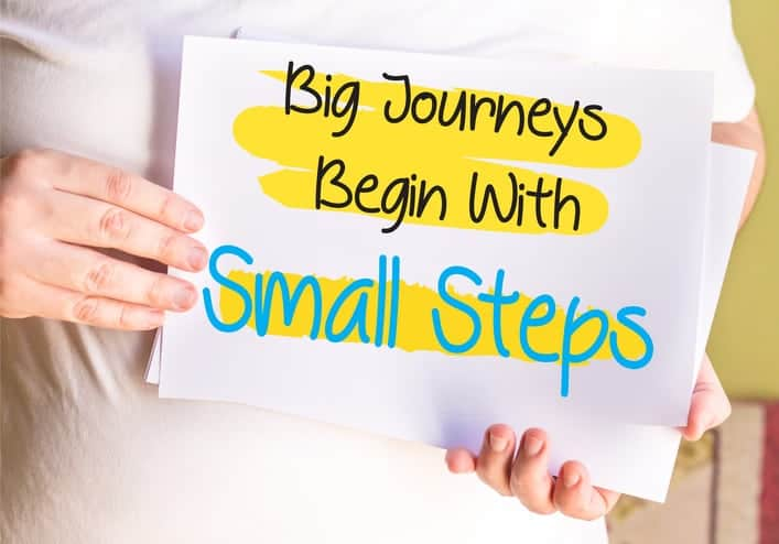 Big Journeys Begin With Small Steps, on white paper