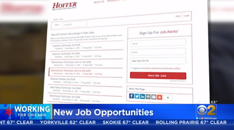 screen capture of hoffer plastics hiring page